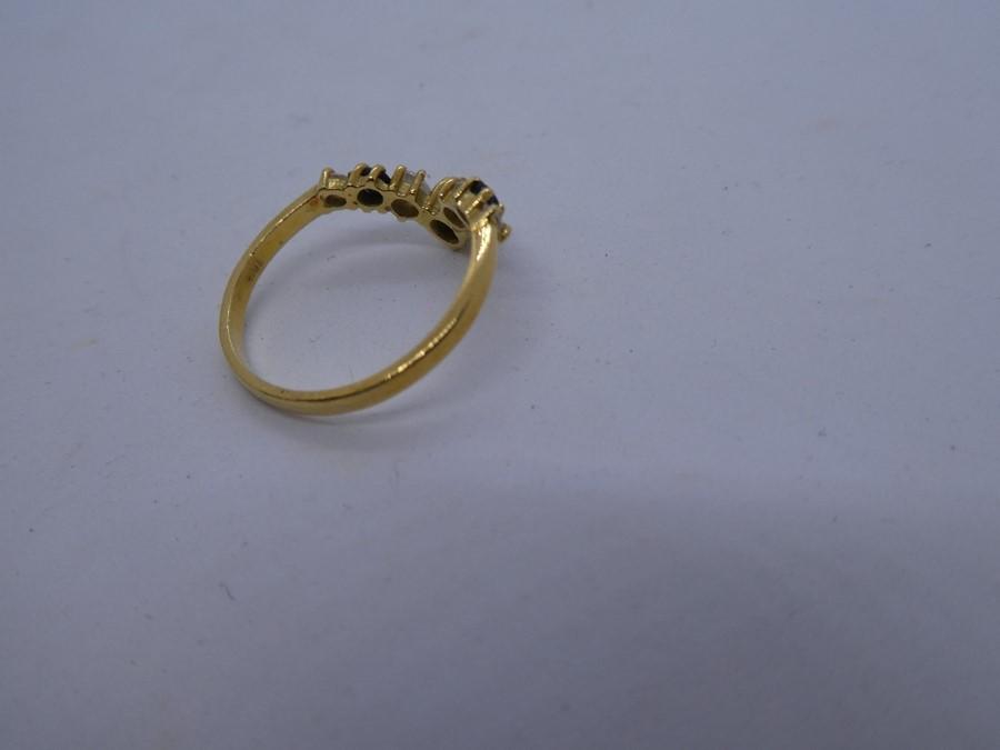 vintage 14ct gold sapphire & gemstone chevron ring 2.7g - Image 3 of 3