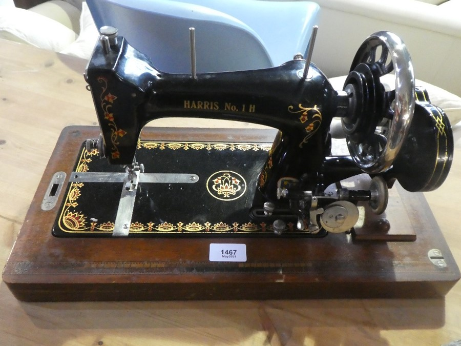 Vintage hand cranked 'Harris No 1 H' sewing machine