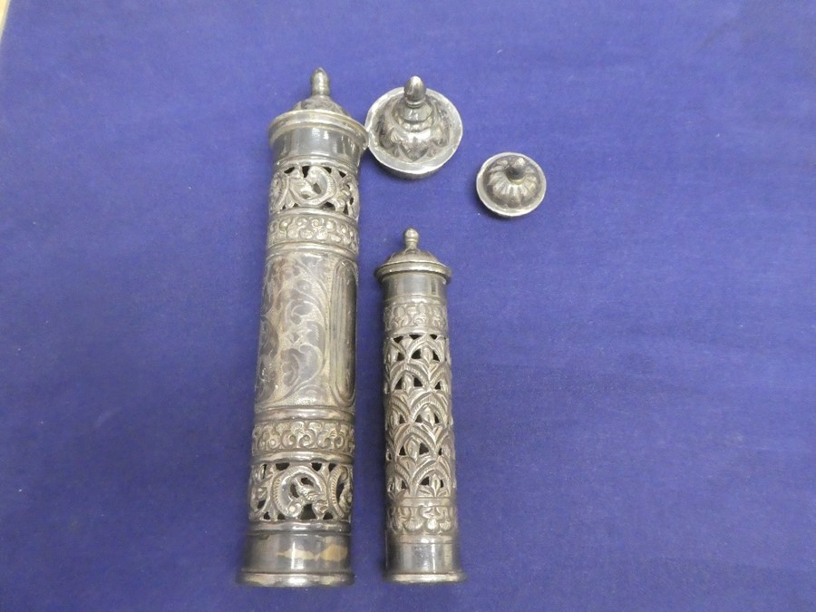 Two silver scroll cases both marks and of ornate design total weight 227g, possibly of Jewish herita