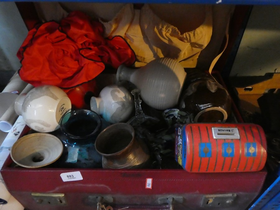 A case of mostly china and glass including some framed and unframed pictures