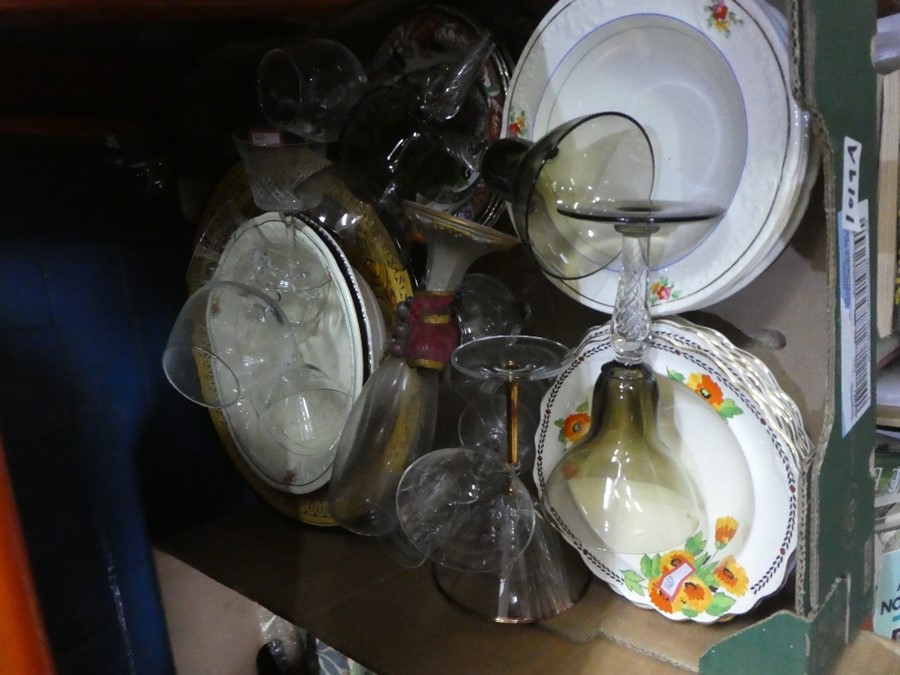 Mixed box of china and glass including Crown Ducal - Image 4 of 4