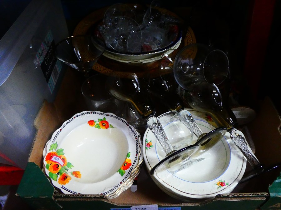 Mixed box of china and glass including Crown Ducal