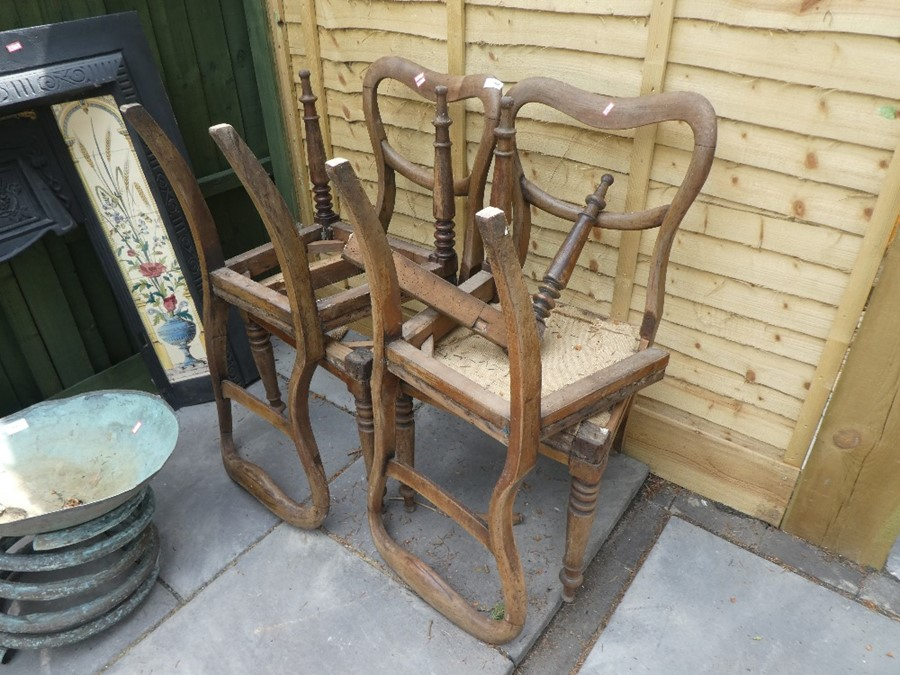 Four AF wooden balloon back chairs