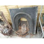 Horseshoe shaped black cast iron fireplace AF