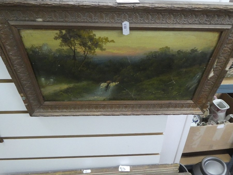 Three framed oil on board pictures depicting mostly landscapes