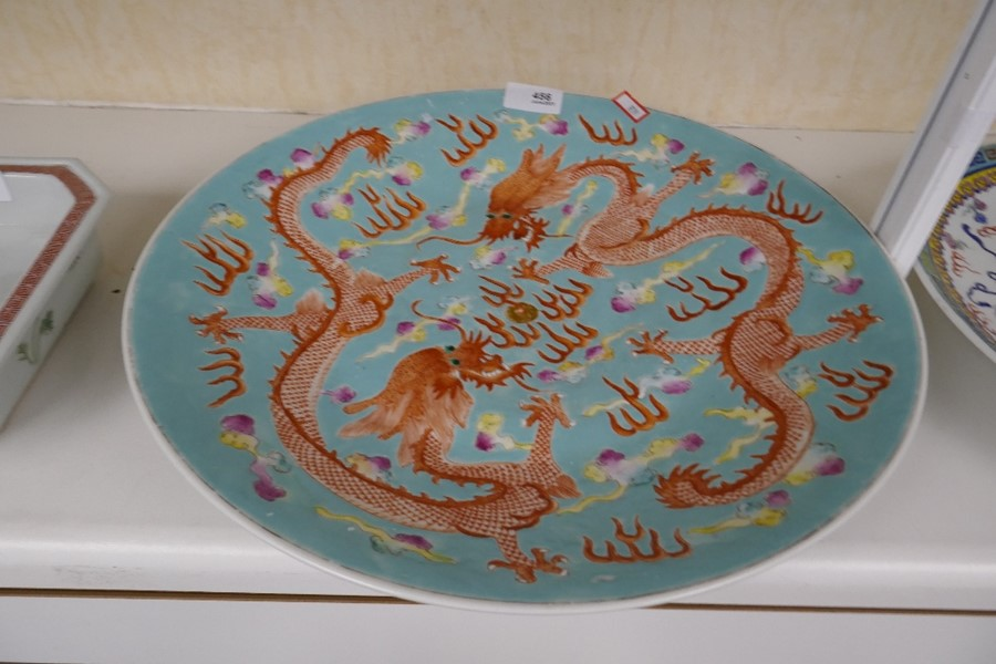 A Chinese turquoise ground charger decorated dragons, 36.5cms