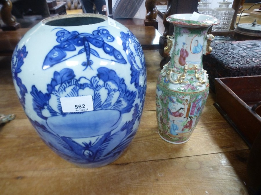 Antique Chinese Canton vase and a large blue and white ginger jar - drilled hole to base
