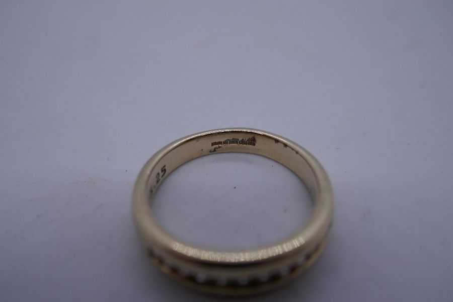 9ct yellow gold diamond channel set band ring, size N, 3.9, marked 375 - Image 3 of 3