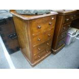 Victorian mahogany 4 drawer bedside chest on plinth base 46cm wide