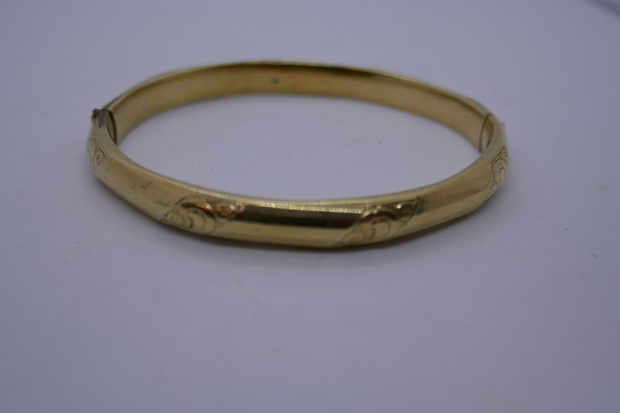 Unmarked yellow metal bangle, , 6.5cm diam - Image 3 of 3