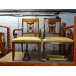8 x carved chairs - six chairs and two carvers shield back design, with cloth seats