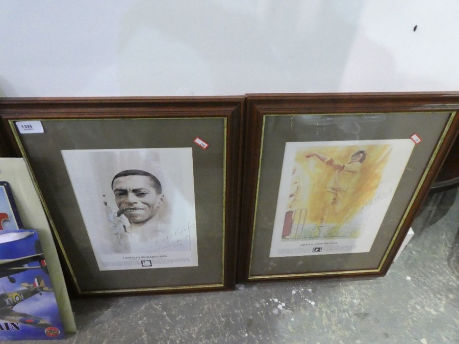 Two metal signs, one depicting Titanic, the other Battle of Britain and two signed framed and glazed - Image 2 of 3