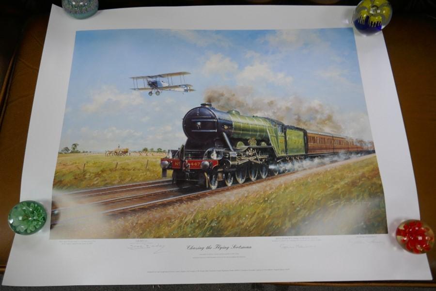 Gavin Mackay 'Chasing the Flying Scotsman' print signed by Lady Bader and a small Robert Taylor prin - Image 4 of 7