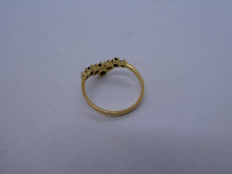 vintage 14ct gold sapphire & gemstone chevron ring 2.7g - Image 2 of 3