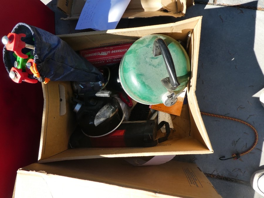 A selection of camping equipment to include Bbq, tables, fold up kitchen unit, sun tents, plastic wa - Image 4 of 5