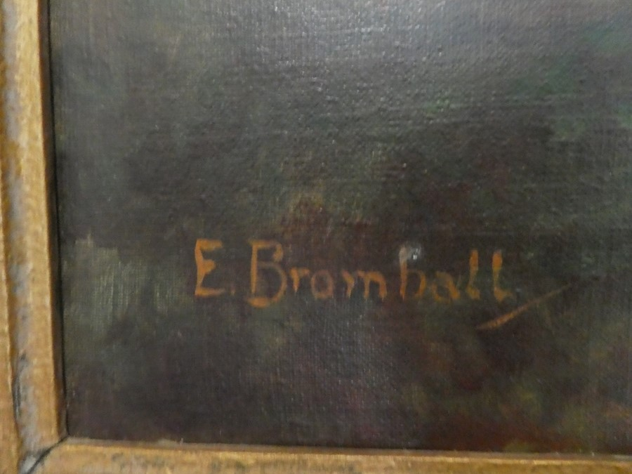 E Bromhall: an oil of a vase of flowers and an oil of a woodland path. The largest 59.5 x 49.5cms - Image 2 of 7