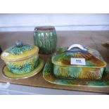 Two old Majolica dishes and covers, and a barrel shaped mug 'John'