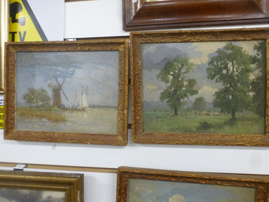 Five small landscape oils, two are signed - Image 3 of 5