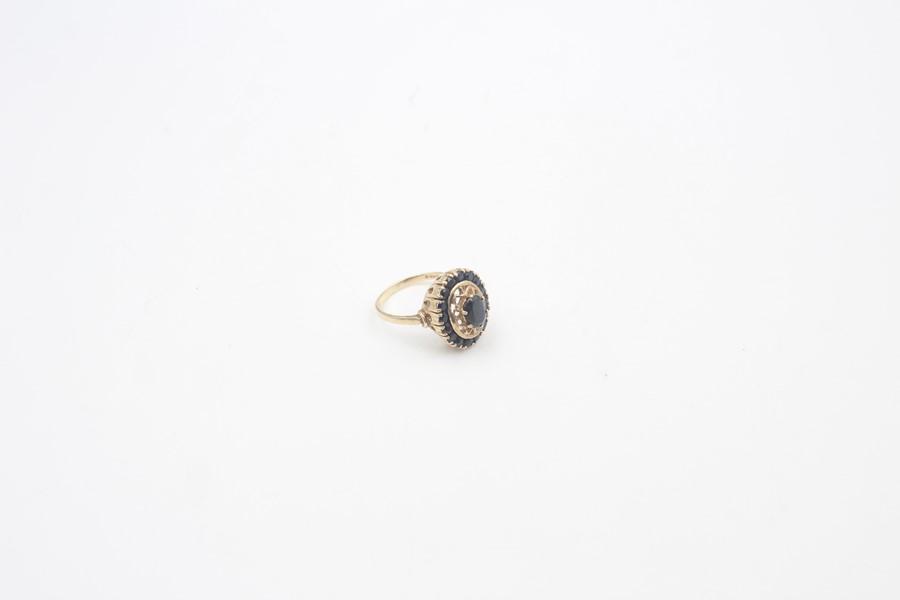 vintage 9ct gold sapphire halo dress ring 4.7g