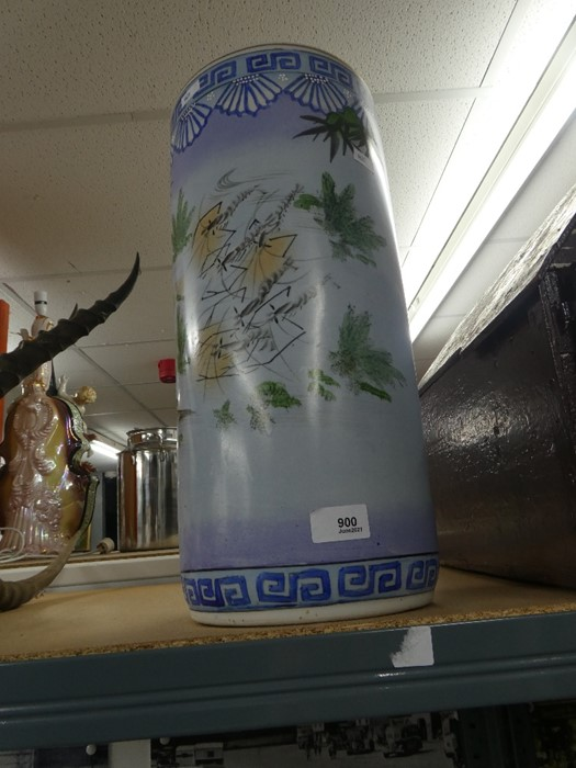 Oriental style china walking stick stand depicting oriental scenes