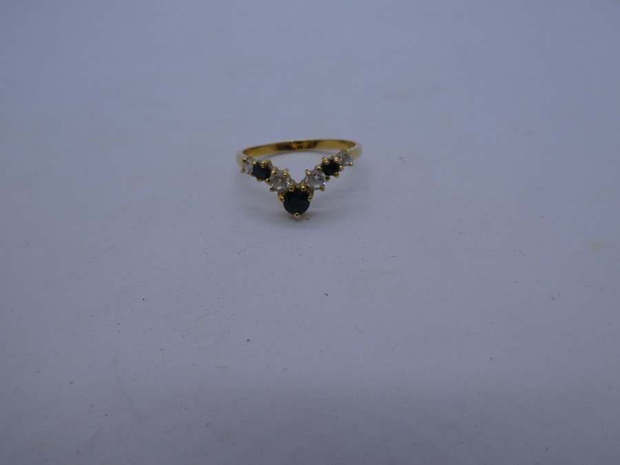 vintage 14ct gold sapphire & gemstone chevron ring 2.7g