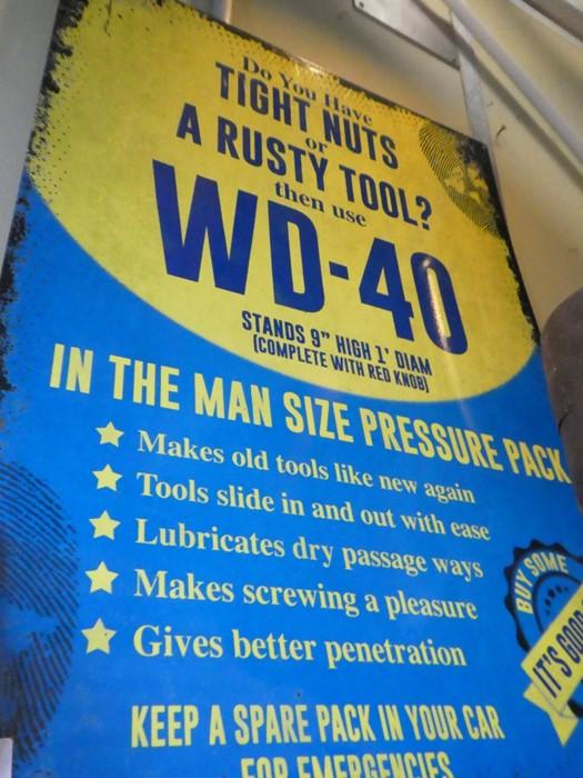 "Large metal sign ""WD40"""