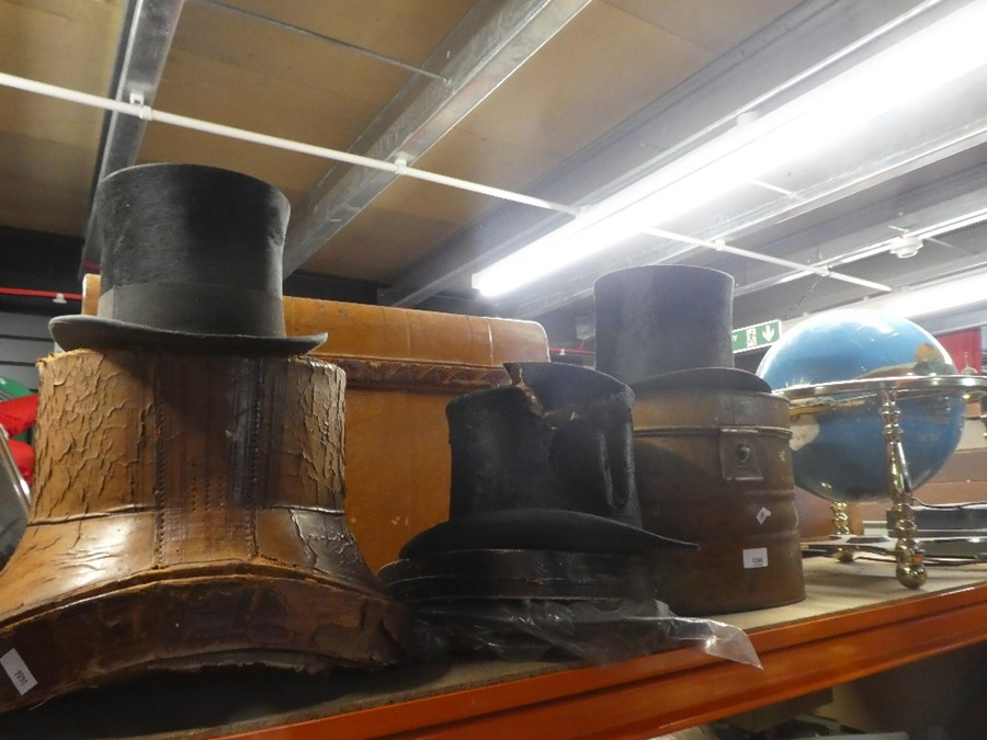 3 Top hats and another and 3 boxes 'Lincoln Bennett' 'Herbert Johnson' and one AF