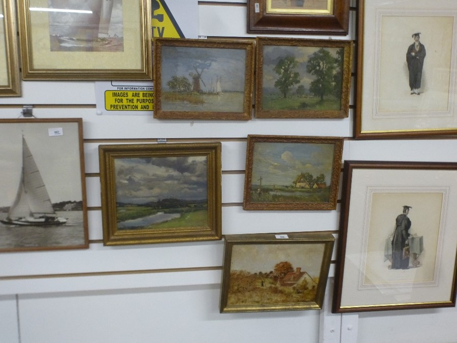 Five small landscape oils, two are signed - Image 2 of 5