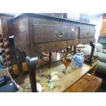 Antique oak sideboard having 2 drawers, 137cm