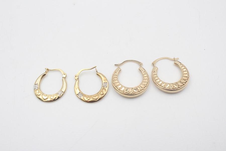 2 x 9ct Gold hoop earrings inc. ornate, heart design 1.7g