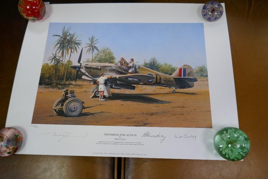Gavin Mackay 'Chasing the Flying Scotsman' print signed by Lady Bader and a small Robert Taylor prin