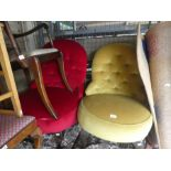Retro style 2 x 2 seater floral conservatory sofas, two red and yellow button back chair stools, tab