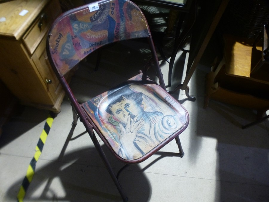 Painted folding chair - Image 2 of 4