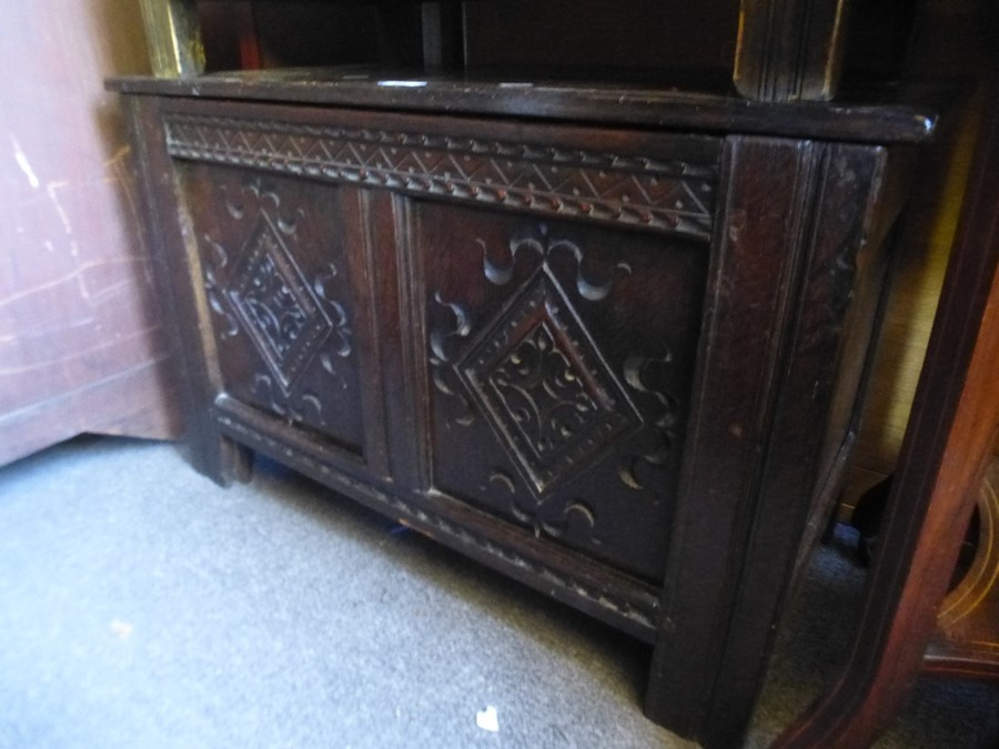 A Small carved oak coffer and an Edwardian 2 tier occasional