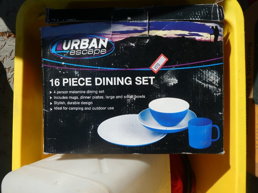 A selection of camping equipment to include Bbq, tables, fold up kitchen unit, sun tents, plastic wa - Image 5 of 5