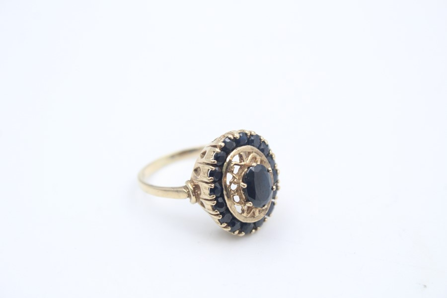 vintage 9ct gold sapphire halo dress ring 4.7g - Image 2 of 4