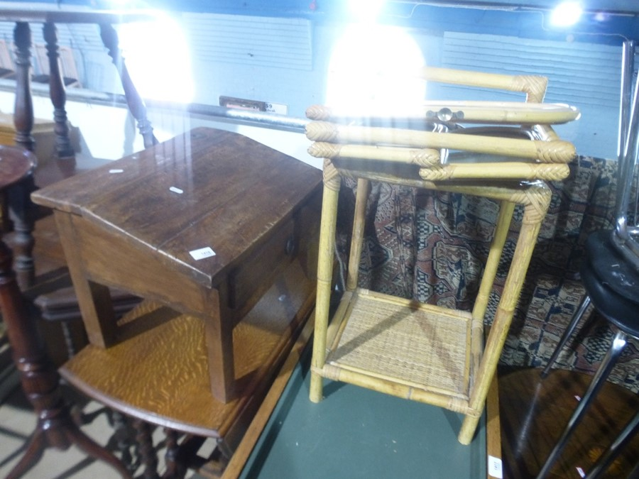 Drop leaf table on barley twist supports and a wooden writing slope with drawers etc - Image 3 of 3