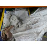 Box of linen, tablecloths etc