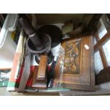 Box of mostly treen and selection of vintage light shades, including ornamental diamond shape paperw