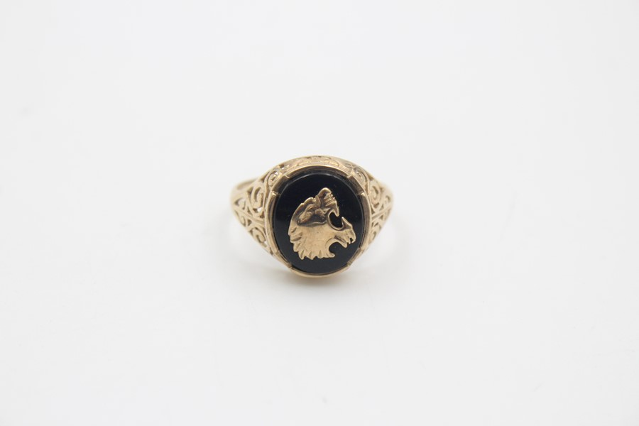 vintage 9ct gold roaring tiger black onyx signet ring 3.7g - Image 2 of 5