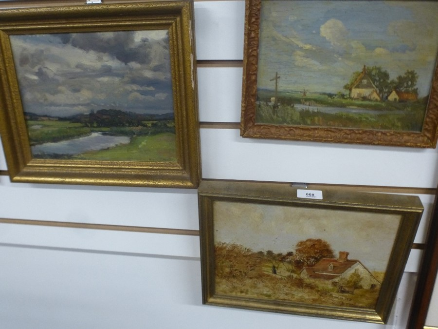 Five small landscape oils, two are signed - Image 4 of 5