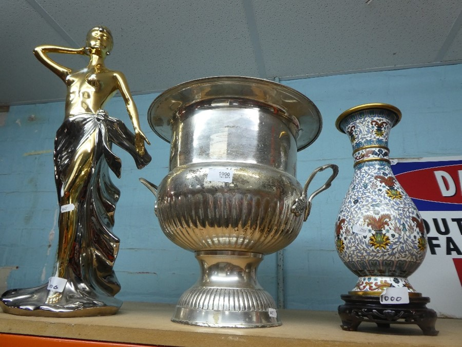 Large silver plated urn, cloisonne vase on stand and a female semi clad figure