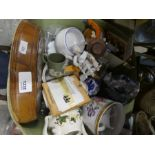 A basket of mixed china and collectables to incl. wooden games, ornaments and glasses