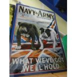 """Large metal sign """"Navy & Army"""""""