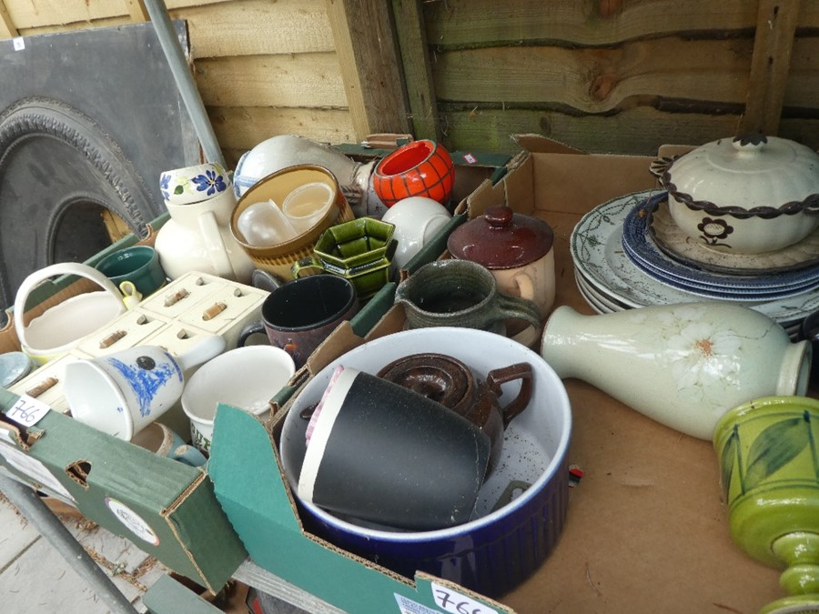 11 boxes of china, glass and sundries to include vases, jugs, plates, copper ware etc - Image 3 of 3
