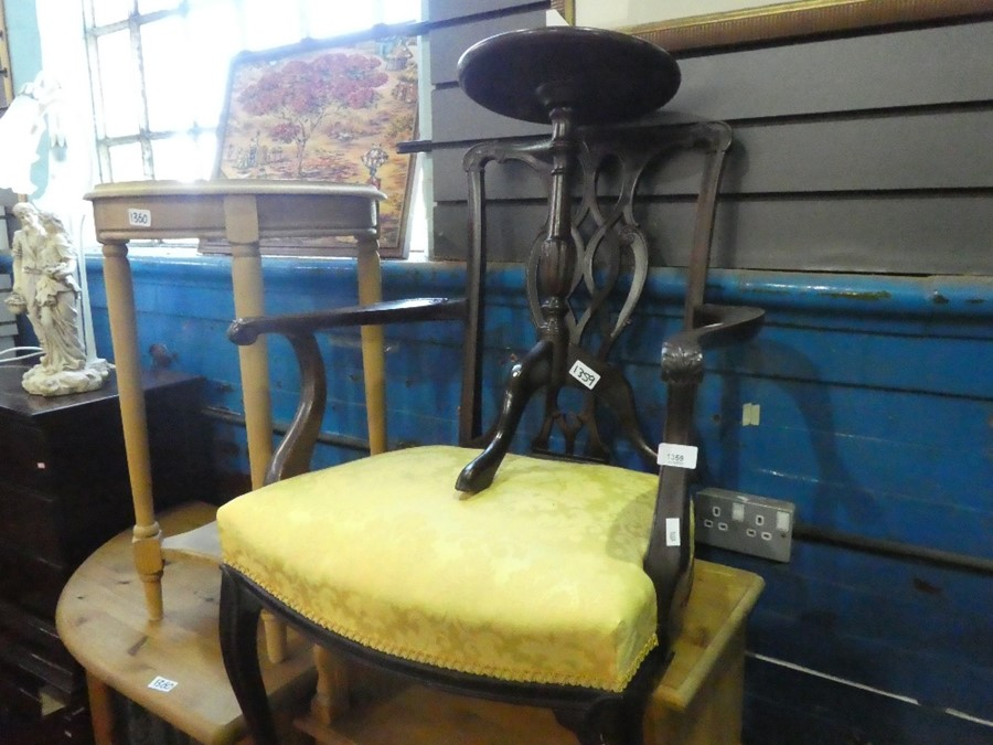 Upholstered carver chair, with ornate carved back and leaf scroll arms, small occasional table - Image 2 of 2