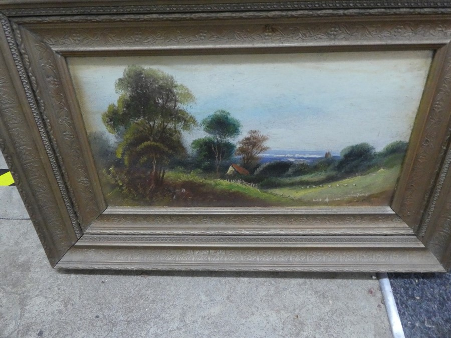 Three framed oil on board pictures depicting mostly landscapes - Image 2 of 4