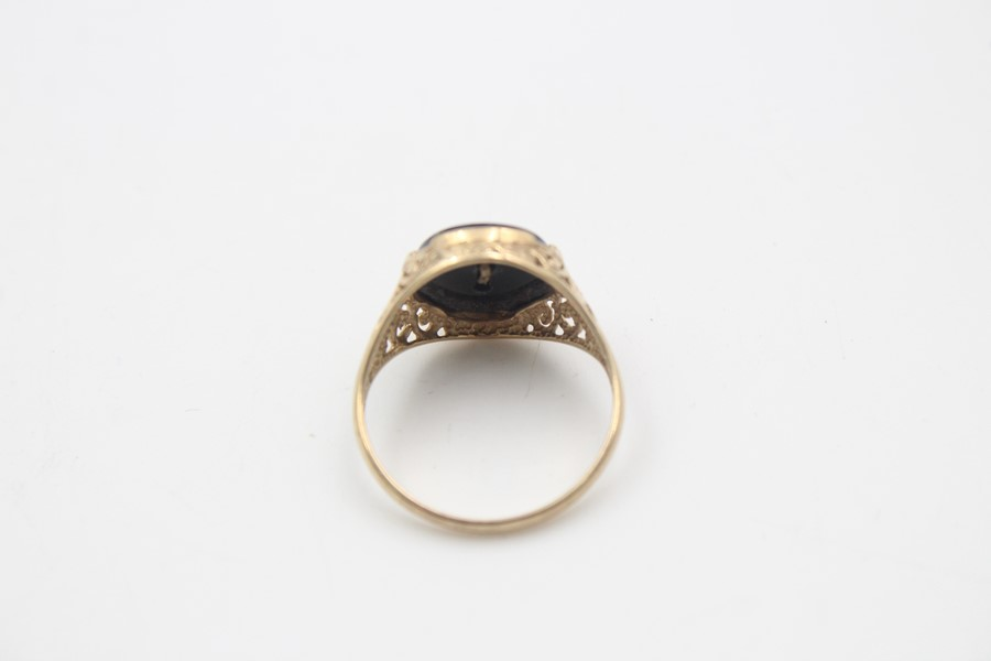 vintage 9ct gold roaring tiger black onyx signet ring 3.7g - Image 4 of 5