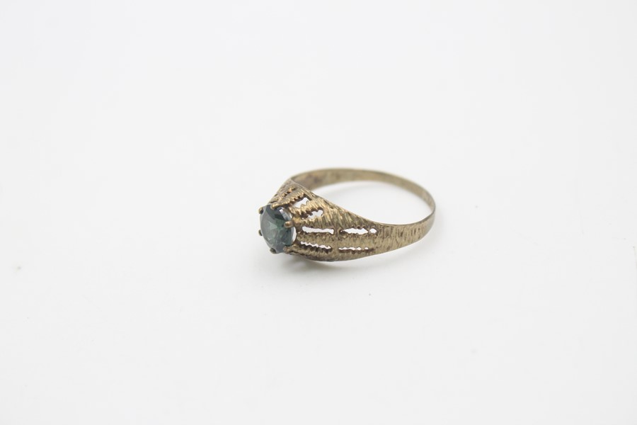 8ct gold modernist textures synthetic spinel ring 1.7g - Image 3 of 5