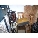 Freestanding corner cabinet with glazed top, metal standard lamp, wooden carver chair, stools and a